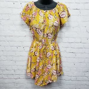Elodie Off The Shoulder Floral Romper Yellow